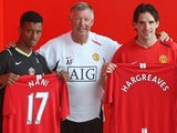 Sir Alex Ferguson unveils Nani and Owen Hargreaves as Manchester United players.
