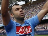Napoli's Macedonian forward Goran Pandev celebrates after scoring during the Italian Serie A football match SSC Napoli vs Livorno in San Paolo Stadium on October 6, 2013
