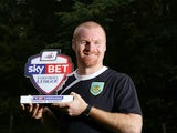 UNDER EMBARGO UNTIL 6AM 4/10/13: Burnley manager Sean Dyche with his September Manager of the Month award on October 3, 2013