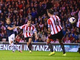 Adnan Januzaj of Manchester United scores his team's second goal during the Barclays Premier League match between Sunderland and Manchester United at the Stadium of Light on October 5, 2013