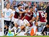 Winston Reid of West Ham celebrates scoring his side's first goal during the Barclays Premier League match between Tottenham Hotspur and West Ham United at White Hart Lane on October 6, 2013
