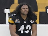 Pittsburgh's Troy Polamalu sits on the sidelines against San Diego on December 9, 2012