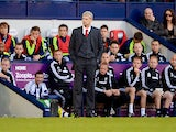 Arsene Wenger manager of Arsenal looks on from the touchline during the Barclays Premier League match between West Bromwich Albion and Arsenal at The Hawthorns on October 6, 2013