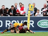 Will Fraser of Saracens scores the opening try uring the Aviva Premiership match between Saracens and London Wasps at Allianz Park on October 5, 2013