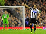 Newcastle's Yohan Cabaye celebrates after scoring his goal against Everton during their Premier League match on September 30, 2013