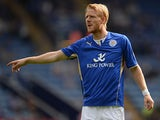 Leicester's Zak Whitbread in action against Birmingham City on August 24, 2013