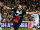 PSG striker Zlatan Ibrahimovic celebrates scoring a penalty during the French Ligue 1 match against Marseille on October 6, 2013