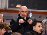 AC Milan General Director Adriano Galliani in the stands during the match against Genoa on March 8, 2013