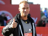 Calum Best poses for the camera during the Virgin London Marathon 2012 on April 22, 2012