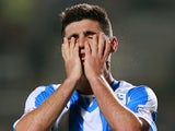 Cristian Lopez of Huddersfield Town reacts after a missed chance during the Capital One Cup third round match between Hull City and Huddersfield Town at the KC Stadium on September 24, 2013