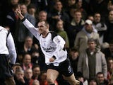 Danny Murphy of Liverpool celebrates scoring the match winning goal during the FA Barclaycard Premiership match against Manchester United played at Old Trafford on January 22, 2002