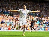 Davide Somma of Leeds celebrates his second goal during the Npower Championship match between Leeds United and Millwall at Elland Road on August 21, 2010