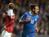 Pablo Daniel Osvaldo of Italy celebrates after scoring the opening goal of the FIFA 2014 World Cup qualifier between Denmark and Italy on October 11, 2013