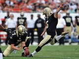 Kicker Garrett Harley #5 of the New Orleans Saints converts a 1st-quarter 44-yard field goal against the Tampa Bay Buccaneers September 15, 2013