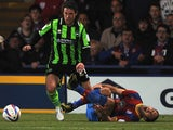 Glenn Murray of Palace goes down injured and is later taken off the field during the npower Championship Play Off Semi Final, First Leg at Selhurst Park on May 10, 2013