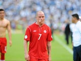 Canadian player Iain Hume leaves the field in dejection after being defeated by 8-1 in the FIFA World Cup Brazil 2014 qualifier football match against Honduars at the Olimpico Metropolitano stadium in San Pedro Sula, Honduras on October 16, 2012