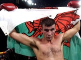 Joe Calzaghe of Wales celebrates after his victory over Will McIntyre of the USA during their WBO World Super-Middleweight title fight on October 13, 2001