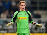 Moenchengladbach's goalkeeper Marc-Andre ter Stegen reacts after the German first division Bundesliga football match VfL Borussia Moenchengladbach vs Hamburg SV on September 26, 2012