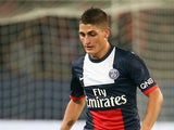 Paris Saint-Germain's Italian midfielder Marco Verratti passes the ball during the French L1 football match between Paris Saint-Germain and AS Monaco at the Parc des Princes Stadium in Paris on September 22, 2013