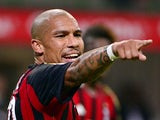 AC Milan's Dutch midfielder Nigel de Jong reacts during the Serie A football match AC Milan vs Sampdoria, on Septembre 28, 2013