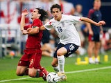 Owen Hargreaves battles for possession against Portugal at the 2006 World Cup.