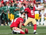 Kicker Phil Dawson #9 of the San Francisco 49ers misses a field goal attempt in the second quarter during an NFL game against the Green Bay Packers at Candlestick Park on September 8, 2013