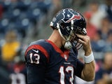 T.J. Yates of the Houston Texans reacts after a play in the second half against the St. Louis Rams at Reliant Stadium on October 13, 2013