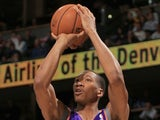 Wesley Johnson of the Phoenix Suns shoots against the Denver Nuggets at the Pepsi Center on April 17, 2013