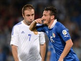 Alessandro Florenzi of Italy celebrates scoring the first goal during the FIFA 2014 World Cup qualifier group B match between Italy and Armenia on October 15, 2013
