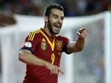 Alvaro Negredo of Spain celebrates scoring their opening goal during the FIFA 2014 World Cup Qualifier match against Georgia on October 15, 2013