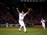 Koji Uehara #19 of the Boston Red Sox celebrates after defeating the Detroit Tigers in Game Six of the American League Championship Series at Fenway Park on October 19, 2013