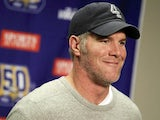 Brett Favre #4 of the Minnesota Vikings talks at a post game press conference after a 13-20 loss to the Detroit Lions at Ford Field on January 2, 2011