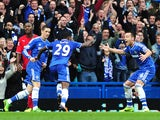 Chelsea's Cameroonian forward Samuel Eto'o celebrates after scoring his team's second goal during the English Premier League football match between Chelsea and Cardiff City at Stamford Bridge in west London on October 19, 2013