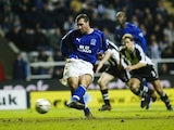 David Unsworth scores a penalty for Everton against Newcastle on November 6, 2002
