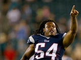 Dont'a Hightower #54 of the New England Patriots celebrates the win over the Philadelphia Eagles on August 9, 2013