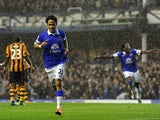 Steven Pienaar of Everton celebrates scoring his side's second goal during the Barclays Premier League match between Everton and Hull City at Goodison Park on October 19, 2013