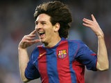 Barcelona forward Lionel Messi celebrates his goal against Albacete during their Spanish League football match at the Camp Nou stadium in Barcelona on May 1, 2005
