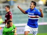 Martins Eder of Sampdoria celebrates after scoring the opening goal during the Serie A match between AS Livorno Calcio and UC Sampdoria at Stadio Armando Picchi on October 20, 2013