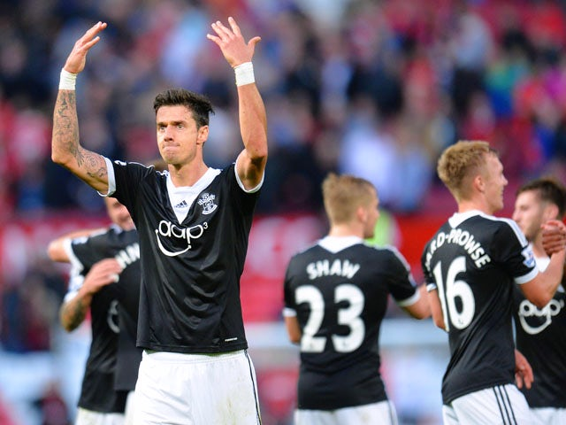 Jose Fonte of Southampton acknowledges the fans at the end of the Barclays Premier League match between Manchester United and Southampton at Old Trafford on October 19, 2013