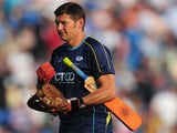 Yorkshire coach Martyn Moxon looks on during the Friends Life T20 match between Yorkshire Carnegie and Lancashire Lightning at Headingley Carnegie Stadium on July 5, 2013