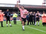 Matthew Le Tissier of Southampton acknowledges the Southampton fans at the end of the last ever League game at The Dell on May 19, 2001