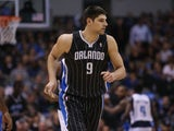 Nikola Vucevic #9 of the Orlando Magic at American Airlines Center on February 20, 2013