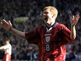 Paul Scholes celebrates scoring for England against Poland at Wembley in March 1999.