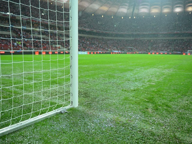 General view of the pitch during the rain before the FIFA 2014 World Cup Qualifier between Poland and England at the National Stadium on October 16, 2012