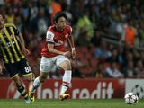 Arsenal's Japanese midfielder Ryo Miyaichi in action against Fenerbahce on August 27, 2013