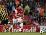 Arsenal's Japanese midfielder Ryo Miyaichi in action against Fenerbahce on August 27, 2013