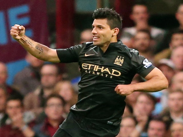 Sergio Aguero of Manchester City celebrates scoring the opening goal during the Barclays Premier League match between West Ham United and Manchester City on October 19, 2013