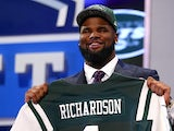 Sheldon Richardson of the Missouri Tigers holds up a jersey on stage after he was picked overall by the New York Jets in the first round of the 2013 NFL Draft at Radio City on April 25, 2013