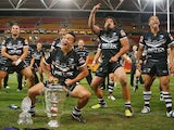 Issac Luke of the Kiwis leads the haka after winning the 2008 Rugby League World Cup Final match between the Australian Kangaroos and the New Zealand Kiwis at Suncorp Stadium on November 22, 2008