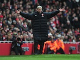 Arsenal manager Arsene Wenger appeals on the touchline during a Premier League game on March 30, 2013